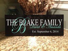 Personalized Family Sign Established Sign by VitalBridalKeepsakes