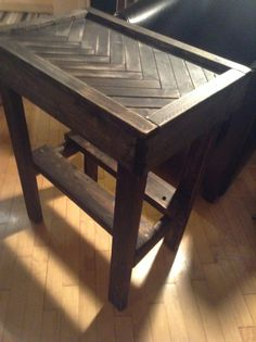 """Herringbone pattern hall table.  Was a """"hall"""" of a lot of cutting. Bahahaha"""