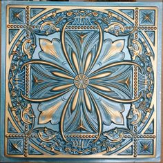 Except in White and Gold Faux tin cyan gold ceiling tiles public house decor wall Faux Tin Ceiling Tiles, Tin Tiles, Ceiling Tiles Painted, Wall Tiles, Gold Ceiling, Accent Ceiling, Art Chinois, Art Japonais, Ceiling Panels