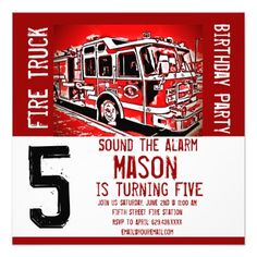 Fire Truck Engine Firefighter Birthday Invitations SOLD on #Zazzle