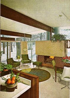 LOVE the glass walls!!!! high ceilings are cool too!  Practical Encyclopedia of Good Decorating and Home Improvement - mid-century modern