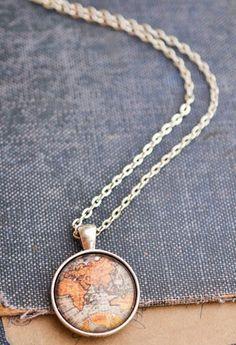 Antique Map Necklace