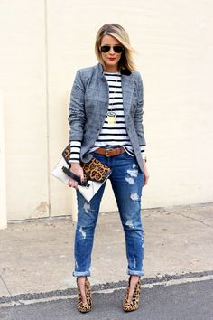 Blazer: via Couture in a Can; Tee: The Fifth; Jeans: c/o Express; Booties: Steve Madden; Belt: Gap, old; Clutch: c/o Rafe, old; Watch: Michele; Hermes Cuff; Earrings: Gorjana; Necklace: Bauble Bar; Lips: MAC Ruby Woo; Nails: OPI Ink; Sunglasses: Ray-Ban