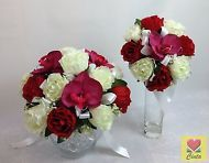 Artificial flowers silk cream white/red rose red orchid wedding bouquet set