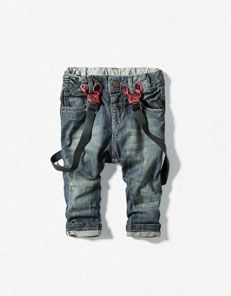 ZARA baby new 2012 spring clothing jeans belt jeans bound Straight Pant suspenders thin denim Little Boy Fashion, Kids Fashion Boy, Toddler Dress Pants, Baby Boy Outfits, Kids Outfits, Girls In Suspenders, Baby Jeans, Zara Baby, Junior