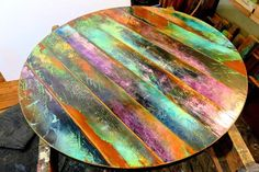Your place to buy and sell all things handmade : Funky painted round table top colorful round wood tables Reclaimed Doors, Reclaimed Wood Wall Art, Barn Wood, Salvaged Wood, Round Wood Table, Round Table Top, Wood Tables, Door Wood, Wood Mosaic