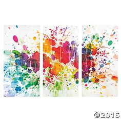 "Paint Splattered Backdrop Banner - $14.99, 3 pcs, 108"" x 72"" assembled"