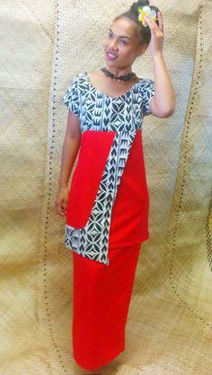 Modern Samoa Puletasi - Off Shoulder Neckline New Dress Pattern, Dress Patterns, Island Wedding Dresses, Samoan Dress, Island Style Clothing, Island Wear, Special Dresses, Fashion Sewing, Fashion Outfits