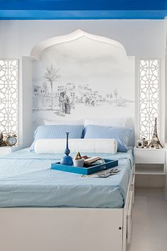 Greek-Mediterranean Style for a Unit in Makati - Mediterranean Decor Morrocan House, Morrocan Decor, Moroccan Bedroom, Moroccan Interiors, House Arch Design, Moroccan Design, Home Trends, Deco Design, Apartment Design