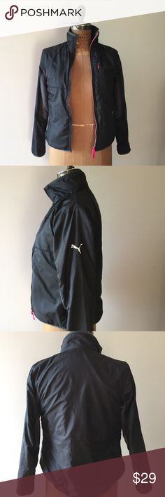 """PUMA Athletic Jacket Women's Small Hardly used....Excellent Condition... Reversible...fleece and nylon material. Last pic shows jacket reversed. 2 side pockets and 1 vertical chest pocket. Measures 18"""" across the chest and sleeves are 24"""" long. Puma Jackets & Coats Puffers"""