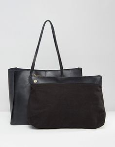 19812a2b7688 ASOS Leather Shopper Bag With Removable Clutch at asos.com
