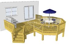 Free Deck Plan 2LT1912  Deck plan with octagon deck that I would make into a screened-in gazebo.