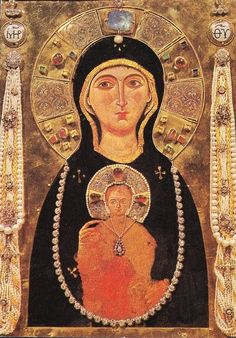 The Byzantine icon of the Madonna Nicopeia in Saint Mark's basilica in Venice, Italy.