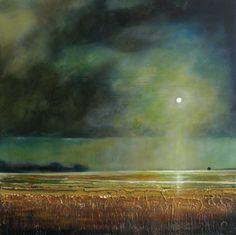 18×18 Original Painting Moody Sky Farm Landscape Toni Grote ...