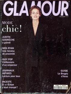 GLAMOUR France - November 1993 - Amber Valetta Meg Ryan, Iggy Pop, Glamour France, Amber Valletta, 80s And 90s Fashion, Mode Chic, Supermodels, November, Cover