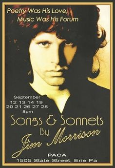 """Songs & Sonnets"" a play featuring the words of Jim Morrison opens in Sept."