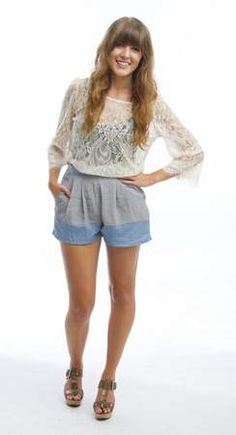 Meredith Kane, 25, models shorts. Merge color-blocking and high-waist shorts. Grey and blue shorts, $35, Mint L.A. Boutique, 340 S.W. Fifth St., Suite 122.