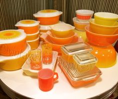 *Happiness is ... Bright Orange and Yellow Pyrex. Pyrex Daisy Pyrex Pineapple Party Pyrex Primary Pyrex Dot Bowls Miscellaneous orange and yellow vintage treasures.