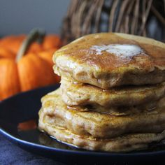 Pumpkin Pie Pancakes. These pancakes are soft and doughy and perfectly pumpkiny and spicy! Enjoy them with syrup or even whipped cream and you've got breakfast heaven on a plate.