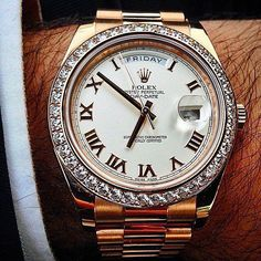 40fc91f8981 Fancy - Rolex Day-Date President Diamond Bezel Watch  MensWatches Relógios  De Luxo