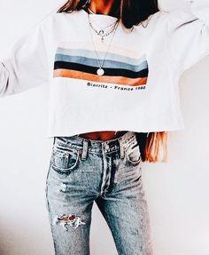Long Sleeve Rainbow Stripes Sweatshirt - outfits - New Hair Styles Look Fashion, Teen Fashion, Fashion Outfits, Womens Fashion, Fall Fashion, High Fashion, Fashion Trends, Fashion Clothes, Fashion Ideas
