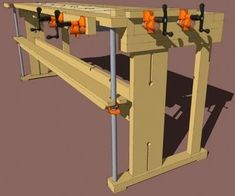 New-Fangled Workbench Using Pipe Clamps PDF Plan at: http://content.jettools.com/content/jet50/wood/freebies/jet50_workbenchplan.pdf