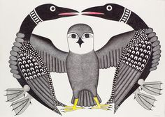 Owl Greeting Loons  by Kenojuak Ashevak 2005