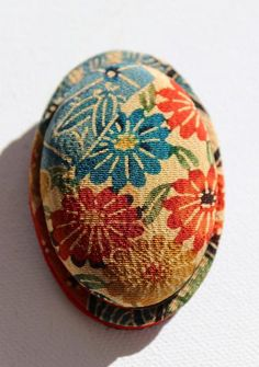 Pretty handmade Japanese brooch in vintage kimono fabric with chrysanthemum flowers