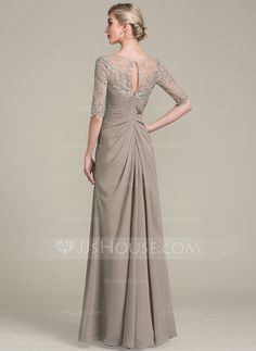 A-Line/Princess V-neck Floor-Length Ruffle Zipper Up Sleeves 1/2 Sleeves No Other Colors General Plus Chiffon Lace Mother of the Bride Dress