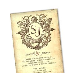 Vintage Royalty Plate Wedding Invitation / DIY Custom Digital Template / Printable Card / No V9. $35.00, via Etsy.