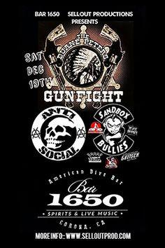 Next Saturday Duane Peters Gunfight w/ The Penetrators, Anti-Social & Sandbox Bullies at Bar 1650 in Corona  https://www.ticketfly.com/purchase/event/997459?utm_source=massplanner