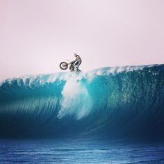 Big wave moto with Had to steal. Bobber Bikes, Motorcycles, Motorcycle Outfit, Big Waves, Biker Girl, World, Water, Life, Outdoor