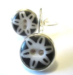 Antique button earrings, black and white 1800s buttons