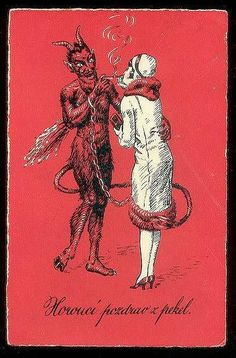 """Hot greeting from hell"" Czech vintage Christmas Krampus Postcard Retro Halloween, Vintage Halloween Images, Halloween Treats, Coven, Satan, Scary, Creepy, Vintage Magazine, Witches"
