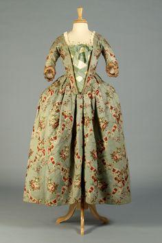 Light blue silk brocade bodice and petticoat, French, ca. 1765. Bodice, KSUM 1995.17.65, and petticoat, KSUM 1995.17.1767