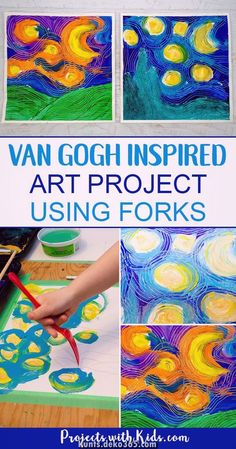 Paint Van Gogh& Starry Night using forks! Learn about creating movement and texture in painting like Van Gogh with this fun and engaging art project that will have your kids wanting to paint with forks over and over again! A great process art project. Art Lessons For Kids, Art Lessons Elementary, Art For Kids, Van Gogh For Kids, Art School For Kids, Artwork For Kids, Paint Night For Kids, Kids Art Class, Kid Art