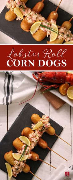 It's time to class up your typical corn dog! This is fair food reinvented. Lobster Roll Corn Dogs   Easy Lobster Recipes   Corn Dog Recipe #corndog #lobster Lobster And Burger, Lobster Restaurant, Fried Lobster, Shrimp And Lobster, Lobster Salad, Lobster Rolls, Dog Recipes, Fish Recipes, Seafood Recipes