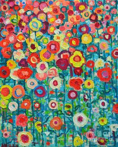 Abstract Flowers Featured Images - Abstract Garden Of Happiness by Ana Maria Edulescu Abstract Flowers, Abstract Art, Painting Flowers, Abstract Paintings, Floral Paintings, Oil Paintings, Colorful Flowers, Canvas Art, Canvas Prints
