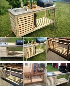 15 Amazing DIY Outdoor Kitchen Plans You Can Build On A Budget - Outdoor kitchen design - Rustic Outdoor Kitchens, Outdoor Kitchen Plans, Backyard Kitchen, Outdoor Kitchen Design, Home Decor Kitchen, Diy Kitchen, Kitchen Ideas, Building An Outdoor Kitchen, Simple Outdoor Kitchen