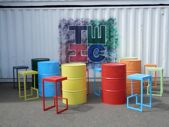 Oil drum tables and chairs. Coffee Shop Interior Design, Coffee Shop Design, Restaurant Interior Design, Cafe Design, Store Design, Arte Bar, Deco Restaurant, Barrel Furniture, Oil Drum