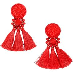 Earrings with tassels ($12) ❤ liked on Polyvore featuring jewelry, earrings, beading jewelry, tassel jewelry, plastic jewelry, plastic earrings and beaded jewelry