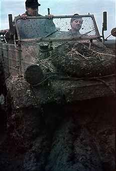 German soldiers in a jeep on muddy terrain in the Ukraine - no further details - spring 1942 - Photographer: Wolff & Tritschler - Vintage property of ullstein bild - pin by Paolo Marzioli