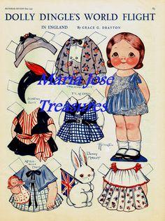 Dolly Dingle in England Paper Dolls - Digital Download