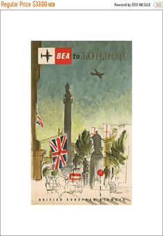 50% Off Estate Sale Vintage BEA Print, 1956 Advertisement, Travel Poster, No…