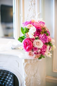 Pink Purple and Cream Rose and Peony Bouquet