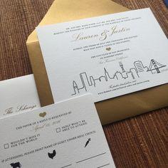 San Francisco City Skyline Wedding Invitation by papercakedesigns