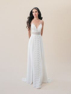 Moonlight Tango T830A boho beach A-line wedding dress with sheer illusion waist and chiffon overlay skirt #rusticweddingdress #bride #lace #wedding #bridal #boho #bohemianbride