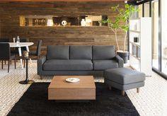 シンプルナチュラルなソファ(木製丸脚) グレー:ナチュラル,シンプルモダン,グレー系,Home's Style(ホームズスタイル)の3人掛けソファの画像
