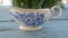 Gravy boat, Blue Dogwood, transfer ware, transfer pattern, vintage china, vintage dishes, collectible dishes, Taylor Smith Taylor, cobalt #etsy