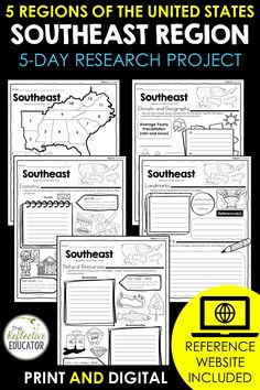 Southeast Region - one of the 5 regions of the United States - is a research project for students in grades 2-4. With this one easy lesson, your students can learn to complete a short research project. Included in this fun resource is a link to the Reference Website created exclusively for this project. The website is kid-friendly and ad-free. When you purchase Southeast Region, you get BOTH print and digital options making it easily compatible with Google Classroom™ and distance learning. Daily Lesson Plan, Lesson Plans, Reference Website, Create Website, Research Projects, Upper Elementary, Google Classroom, Social Studies, Teacher Pay Teachers